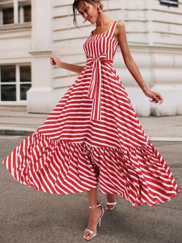 Sleeveless Striped Skater Long Vacation Dresses
