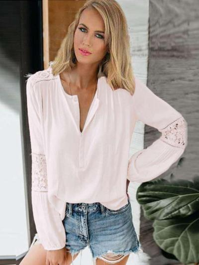 Loose Lace Gored Hollow Long sleeve Blouses