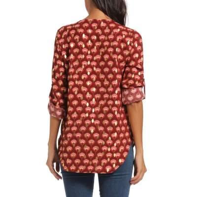 Fashion Zipper V neck Print Long sleeve Blouses