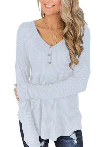 Loose  Fastener Long sleeve V neck T-Shirts