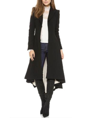 Big lapel women plain fashion long coats