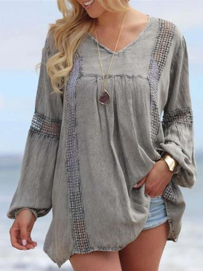 Casual Loose Pure V neck Long sleeve Gored Blouses