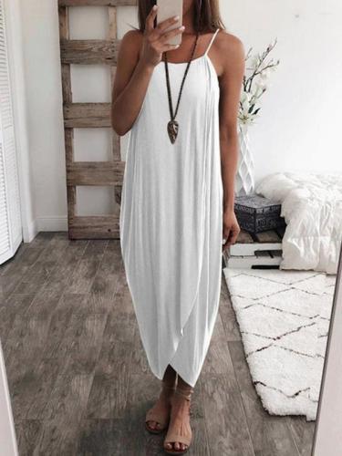 Solid color loose irregular hem strap maxi dresses