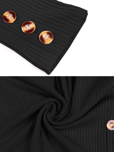 Sexy women round neck button decoration bodycon dresses