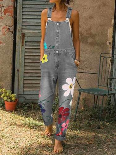 Women denim button flower printed long pants jumpsuits