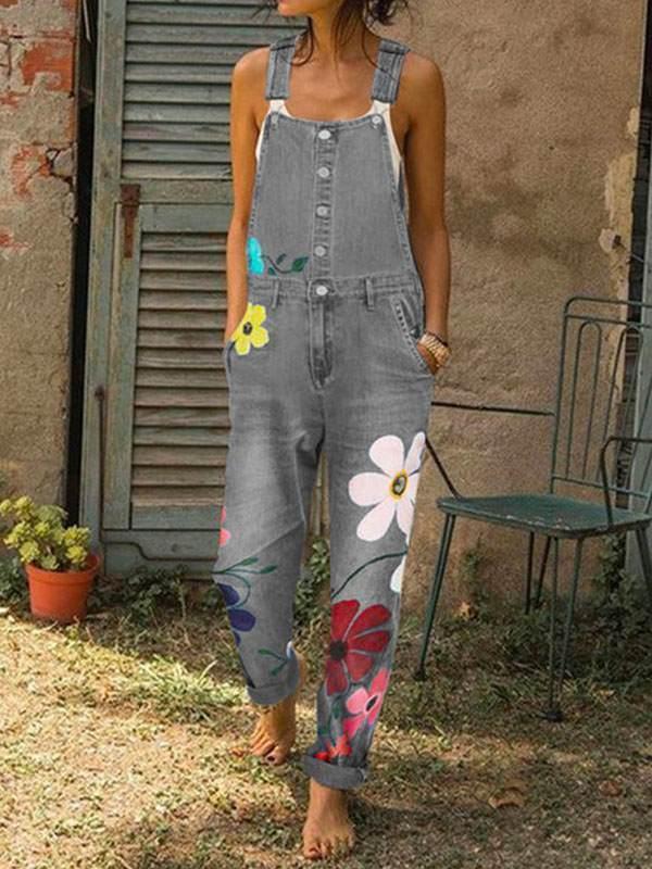 Women denim button flower printed long pants jumpsuits