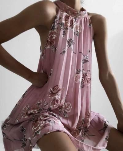 Casual Print Half collar Sleeveless Shift Dresses