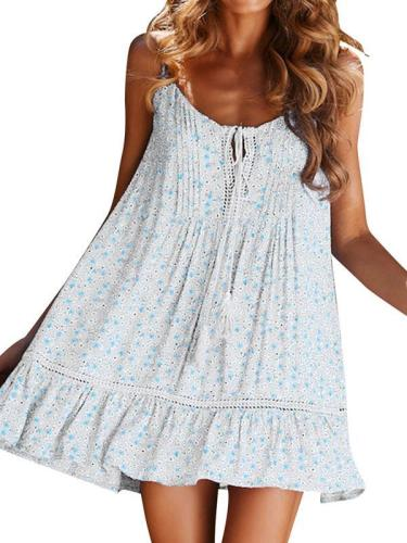 Floral fringed strapless contrast vacation dresses