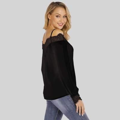 Fashion Pure Off shoulder Vest Lace Long sleeve T-Shirts