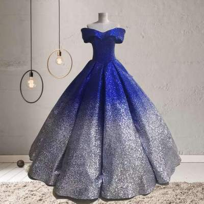 Off shoulder Paillette Gradient Bubble Evening Dresses