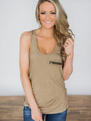 Scoop Neck Sleeveless Zipper Fashion Vest