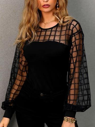 Sexy Patchwork mesh blouse