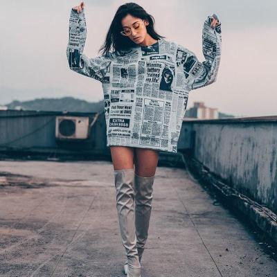 New Fashion Floral Newspaper Loose Long sleeve Sweatshirts
