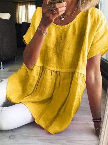 Casual Loose Pure Round neck Short sleeve Gored Shift Dresses