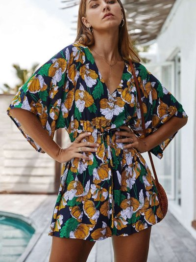 Fashion Casual Print V neck Half sleeve Jumpsuits