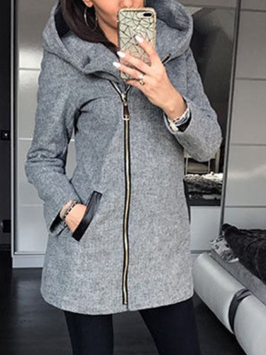 Zipper Solid Paneled Hoodie Coat