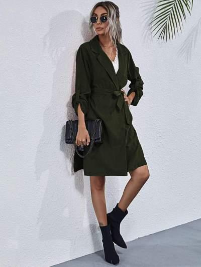 Fashion Pure Lapel Long sleeve Belt Trench Coats