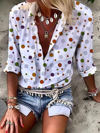 Loose pocket printed wave point long sleeve blouses