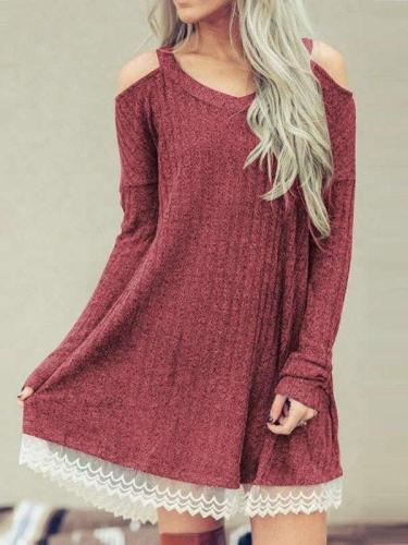 Fashion Casual Lace V neck Off shoulder Gored Long sleeve Shift Dresses