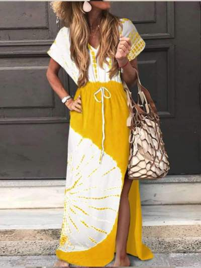 Loose Print Short sleeve Maxi Dresses