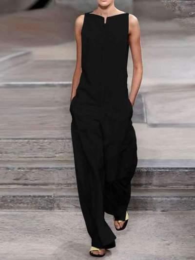 Casual Cotton Linen Lady Plain Jumpsuits