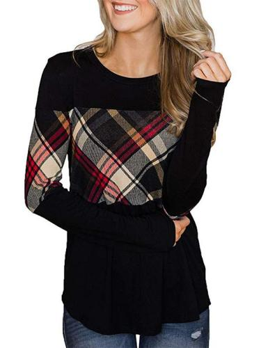 Woman Long Sleeve Round Neck Cutout Patchwork T-shirts