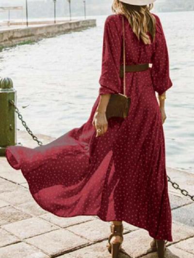 V neck wave dot printed women vacation dresses