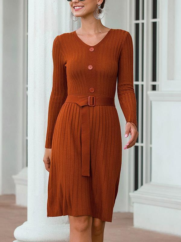 Casual v-neck knit long sleeve button maxi dresses