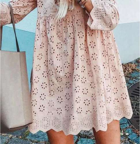 Casual Loose Hollow out V neck Long sleeve Shift Dresses