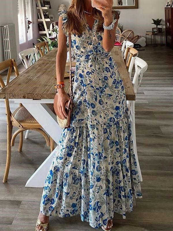 Casual Print V neck Gored Sleeveless Falbala Maxi Dresses
