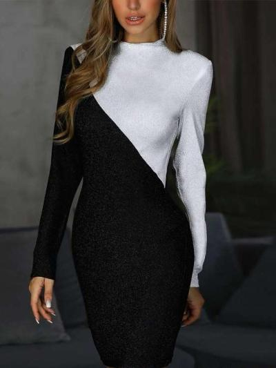 Sexy Gored Long sleeve Round neck Shift Dresses