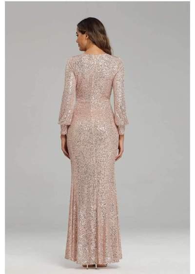 Fashion Sexy V neck Paillette Evening Dresses
