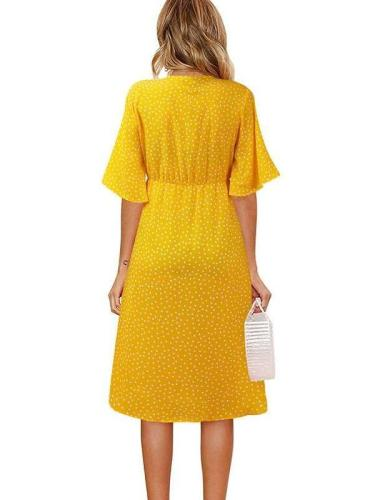 Fashion Point print V neck Bowknot Short sleeve Maxi Dresses