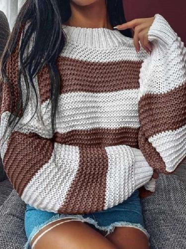 Fashion Casual Loose Stripe Round neck Long sleeve Sweaters