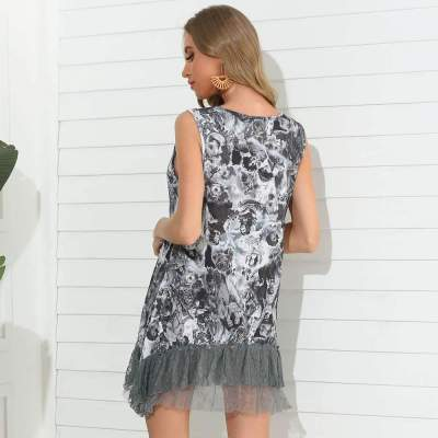 Fashion Print Gored Grenadine Round neck Sleeveless Shift Dresses