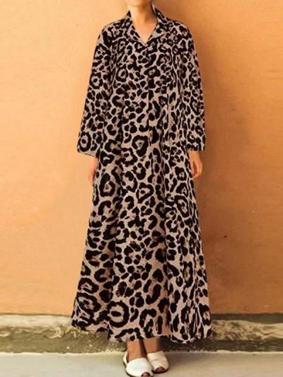 Long sleeve leopard-printed lapel loose long maxxi dresses