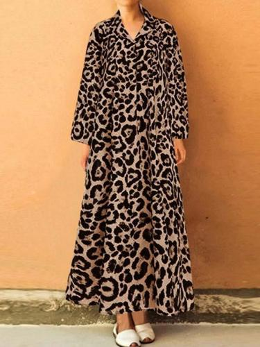 Long sleeve leopard-printed lapel loose long maxxi dresses