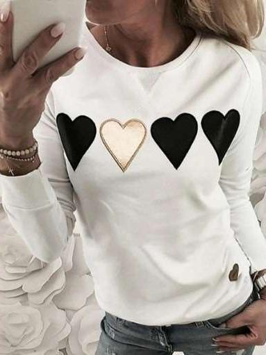 Fashion Print Round neck Long sleeve Sweatshirt T-Shirts