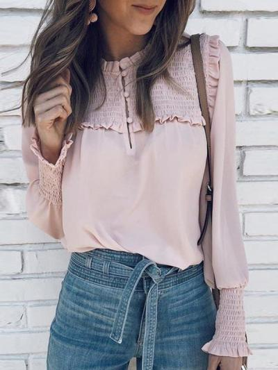 Stylish elegant long sleeve solid color blouses
