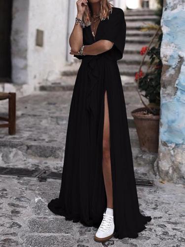 Sexy Women Long V neck Waist tie Slit Maxi Dresses