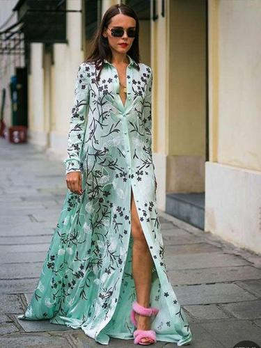 Fashion Casual Lapel Print Long sleeve Maxi Dresses