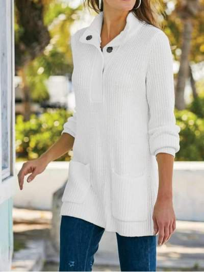 Pure High collar Long sleeve Fastener Pocket Sweaters