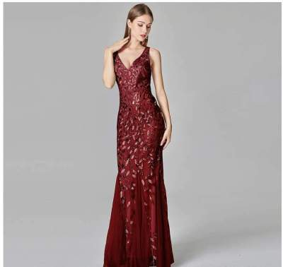 Fashion Sexy V neck Sleeveless Fishtail Evening Dresses