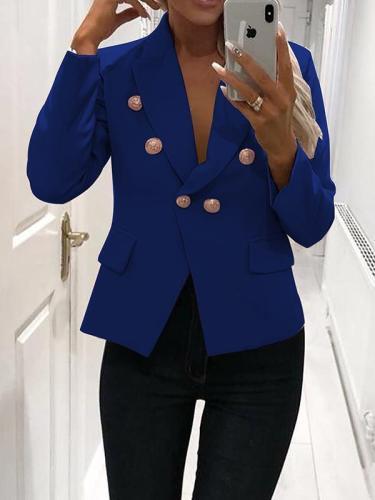 Fashion Fall Women Turn down collar button long sleeve blazers