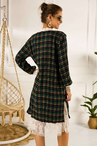Fashion Drape Print Lace Long sleeve Skater Dresses