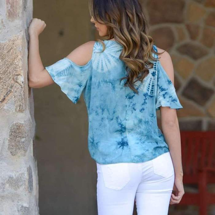 V neck Cotton Floral Loose T-Shirts