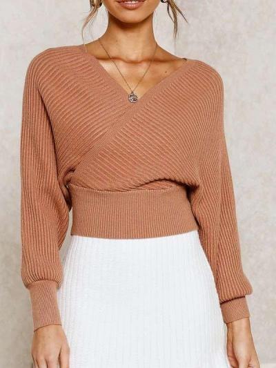 Fashion V neck Batwing sleeve Sweaters