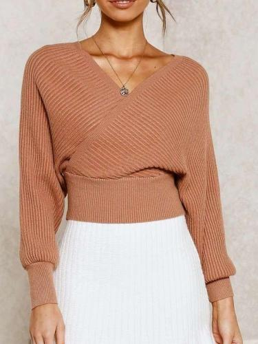 Fashion V neck Batwing sleeve Sweaters