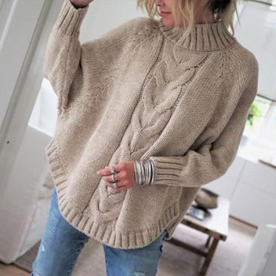 Fashion Little High-Necked Bat Sleeve Sweater