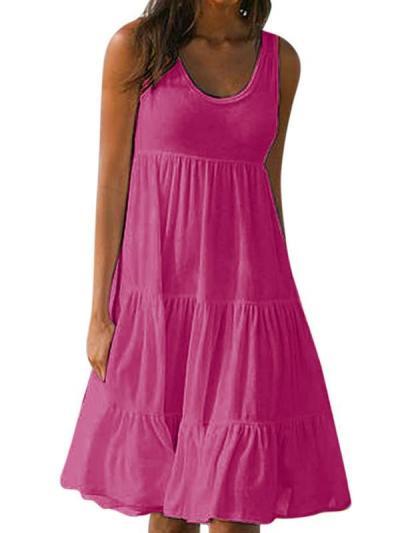 Sleeveless round collar patchwork beach vacation dresses